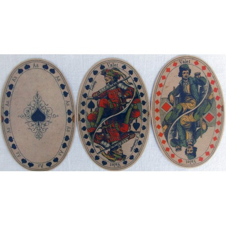 Oval shape playing cards. Germany.